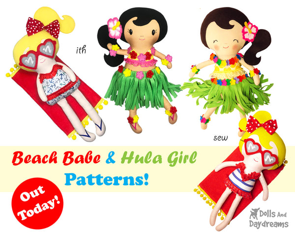 Hula girl beach babe sewing and In the hoop doll pattern