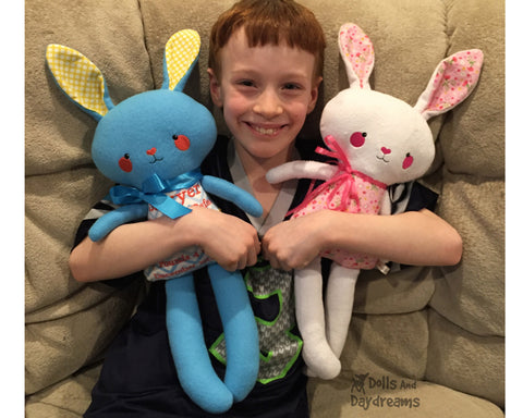 Bunny plush toys sewing and in the hoop patterns