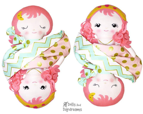 Topsy Turvy Sleeping Beauty Princess Cloth Doll Sewing Pattern kids plushie flip dolly diy toy by Dolls And Daydreams