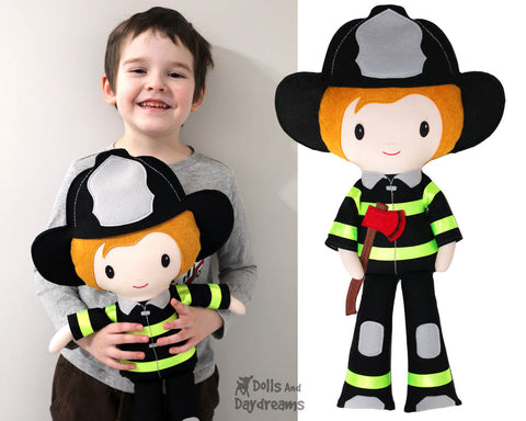 Fireman Fire Fighter Doll sewing and ith patterns by dolls and daydreams