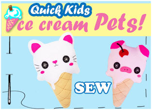 Ice Cream Kawaii Cute Plush Sewing Patterns by Dolls And Daydreams