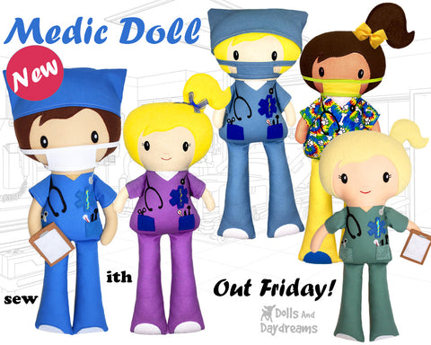 Medic Doctor Nurse first responder doll pattern by dolls and daydreams