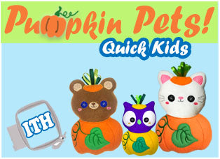Pumpkin Pets Fall Machine Embroidery Quick Kids Pattern
