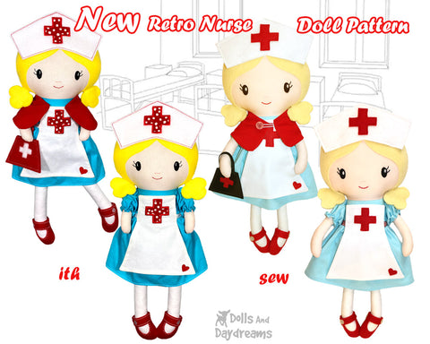 Nurse doll sewing and machine embroidery pattern by dolls and daydreams