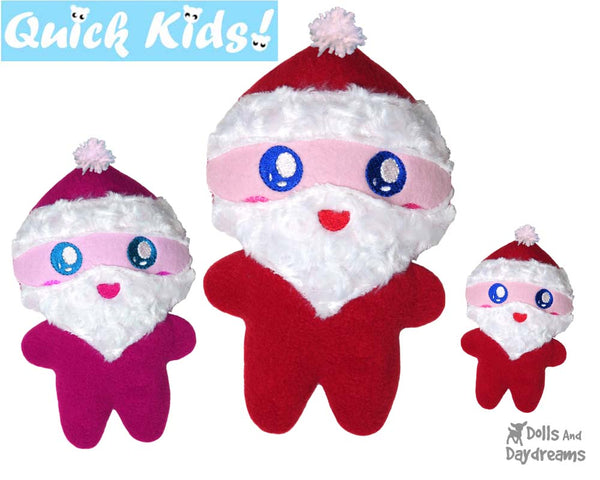 easy santa cloth doll sewing pattern and in the hoop embroidery pattern