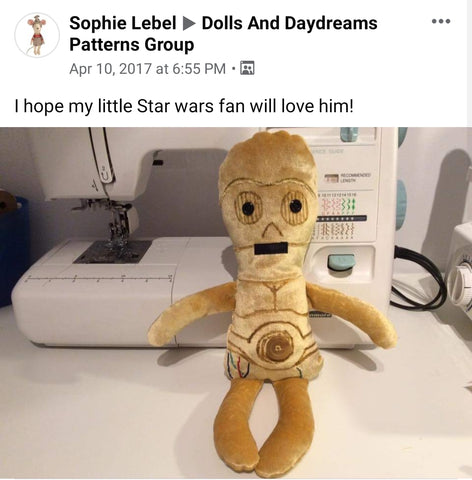 Star wars doll fan art patterns sewing and machine embroidery
