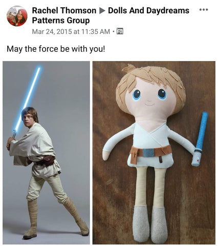 luck skywalker doll star wars fan art pattern