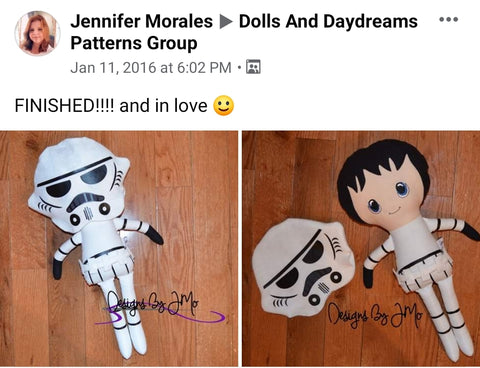 stormtrooper Star wars doll fan art patterns sewing and machine embroidery