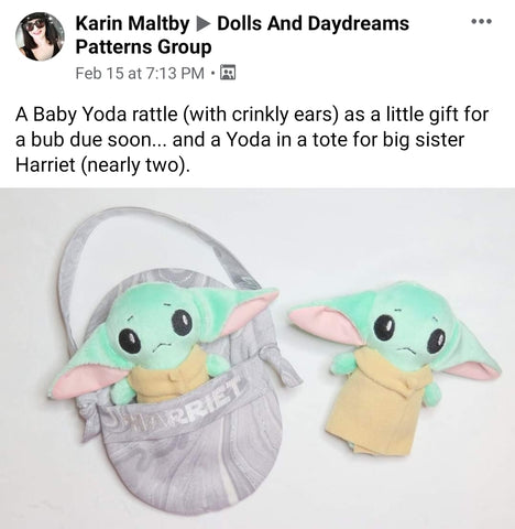 baby yoda Star wars doll fan art patterns sewing and machine embroidery