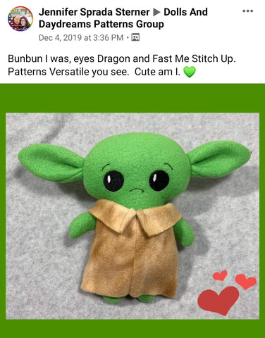 baby yoda the child Star wars doll fan art patterns sewing and machine embroidery