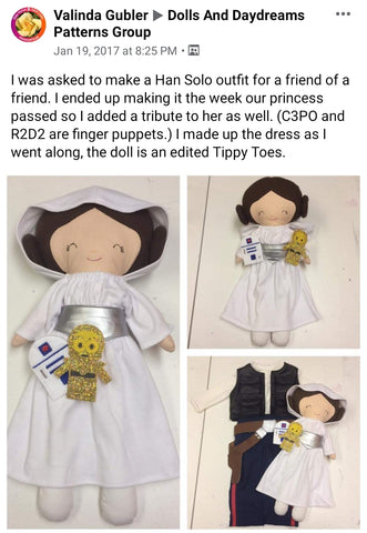 princess leia Star wars doll fan art patterns sewing and machine embroidery