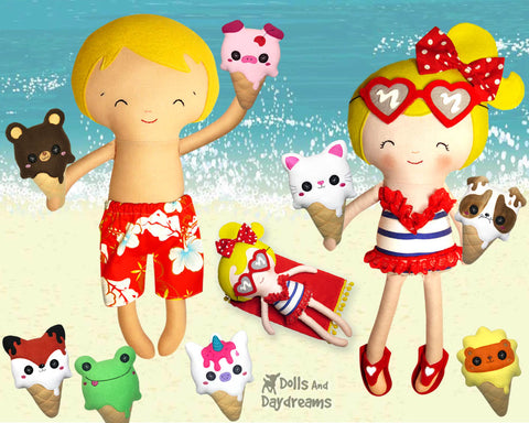 ice cream sewing and machine embroidery kawaii cute plush patterns by dolls and daydreams