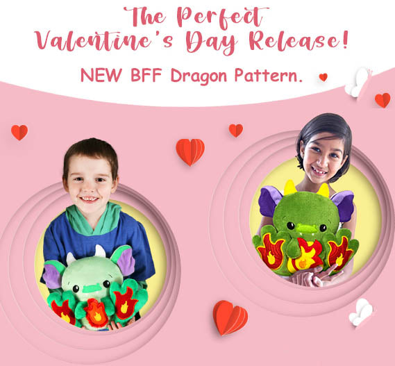 Dragon BFF Plush Toy plush toy PDF sewing and ITH machine embroidery pattern