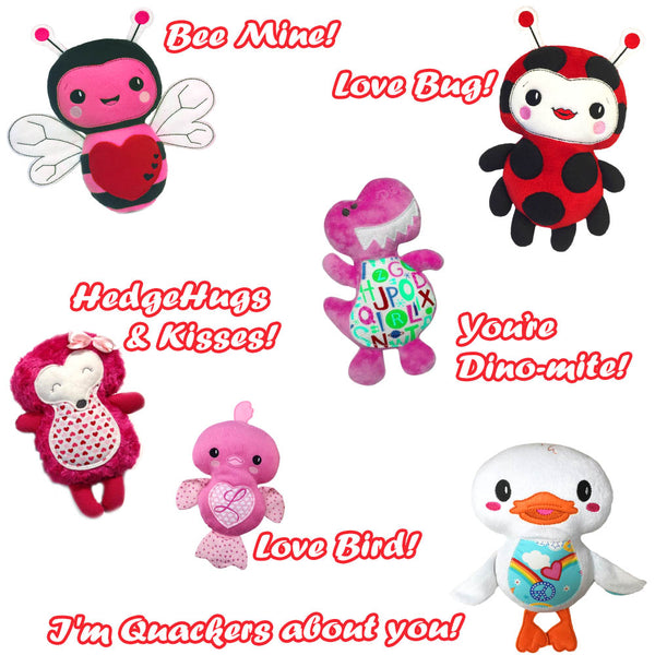 Be Mine Valentine pun witty saying to add to plush toys machine embroidery patterns by dolls and daydreams