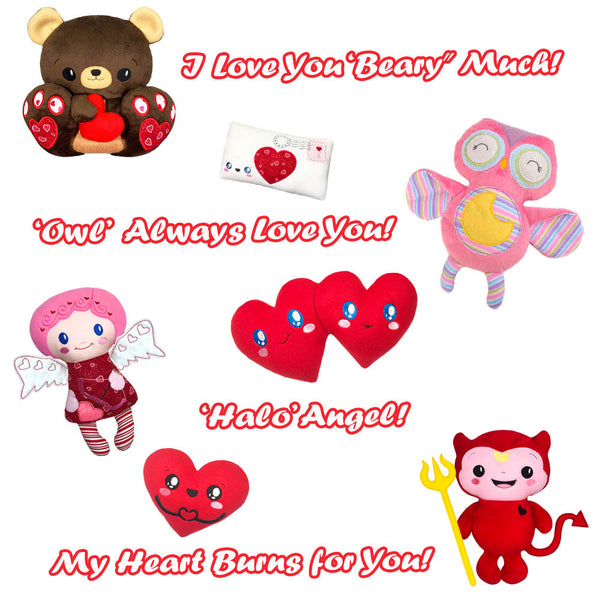 Valentine pun witty saying to add to plush teddy owl devil love toys machine embroidery patterns by dolls and daydreams