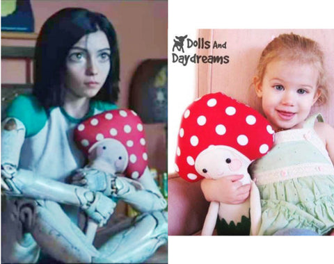 alita battle angel with dolls and daydreams mushroom baby pattern