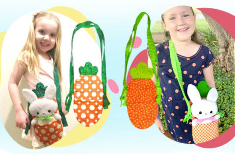 Tiny BunBun Bunny Pattern and Carrot Tote by dolls and daydreams