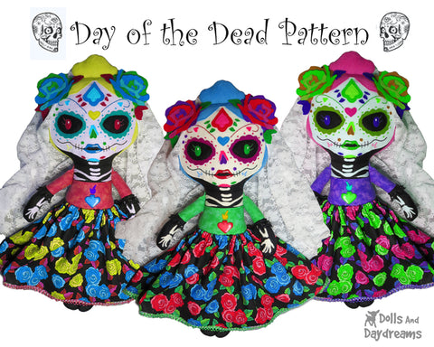 day of the dead sewing pattern doll