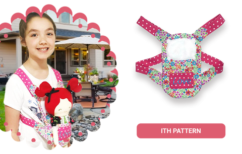 Cloth Doll toy carrier baby wearing in the hoop machine embroidery pattern