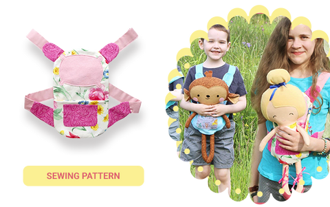 Cloth Doll toy carrier baby wearing in the pdf sewing pattern