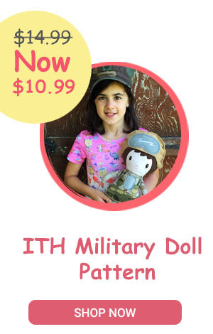 ITH Machine Embroidery Military Doll Pattern by Dolls And Daydreams