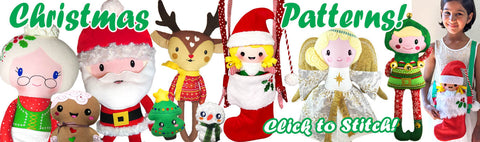 X-mas Christmas sewing and machine embroidery patterns for sale by dolls and daydreams