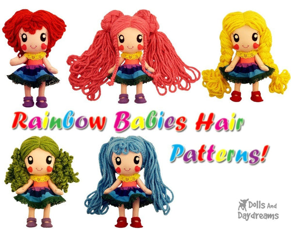 Rainbow Baby 5 Hair Wig Patterns - Dolls And Daydreams - 1