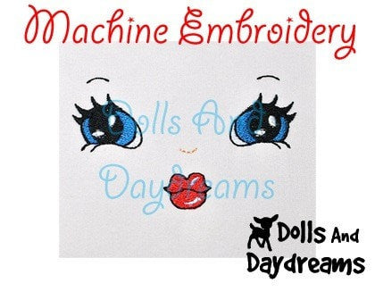 Machine Embroidery Retro Doll Face Pattern - Dolls And Daydreams - 3