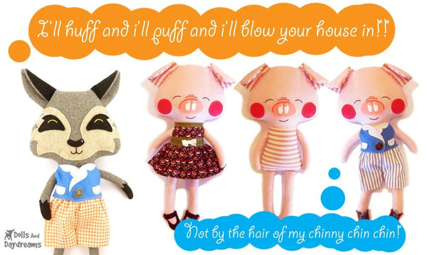 Three Little Pigs and Big Bad Wolf Sewing Pattern - Dolls And Daydreams - 6