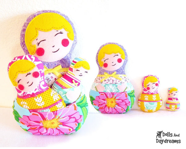 Babushka Sewing Pattern Set of 3 - Dolls And Daydreams - 2
