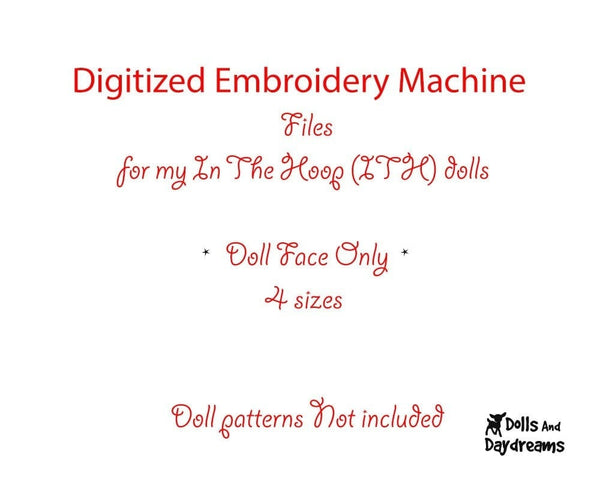 Machine Embroidery Mini Manga Doll Face Pattern