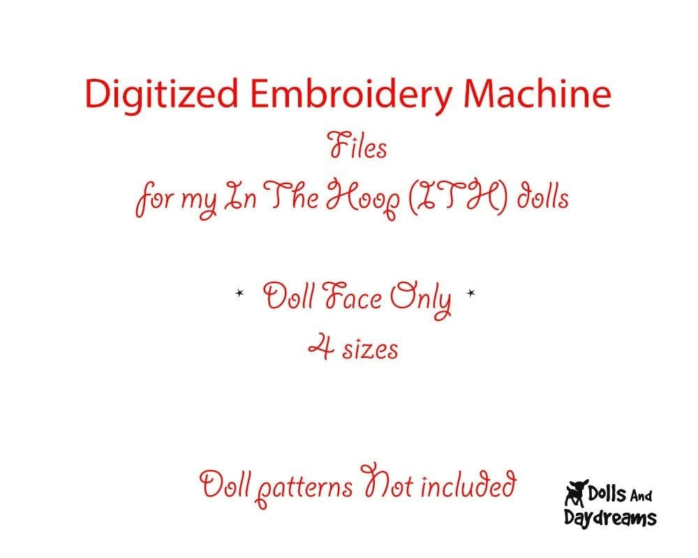 Machine Embroidery Bubble Eyes Doll Face Pattern Dolls And Daydreams