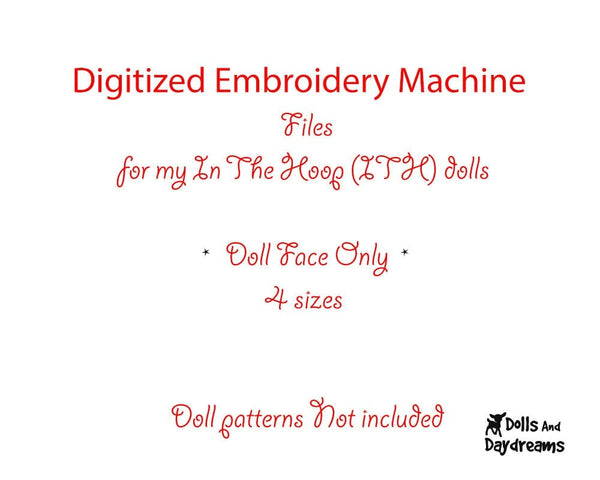 Machine Embroidery Cutie Pie Doll Face Pattern - Dolls And Daydreams - 2