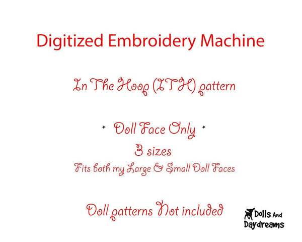 Machine Embroidery Poppy Poppet Doll Face Pattern - Dolls And Daydreams - 2