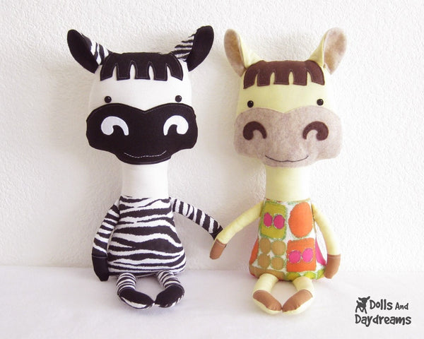 Horse and Zebra Sewing Pattern - Dolls And Daydreams - 2