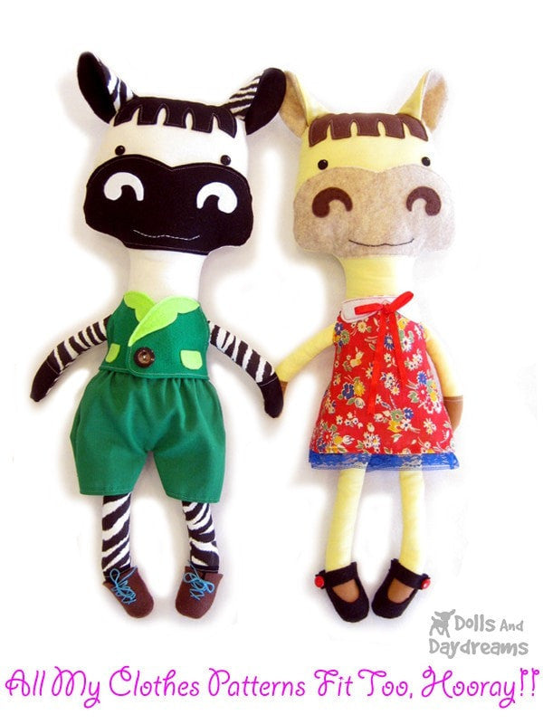 Horse and Zebra Sewing Pattern - Dolls And Daydreams - 6