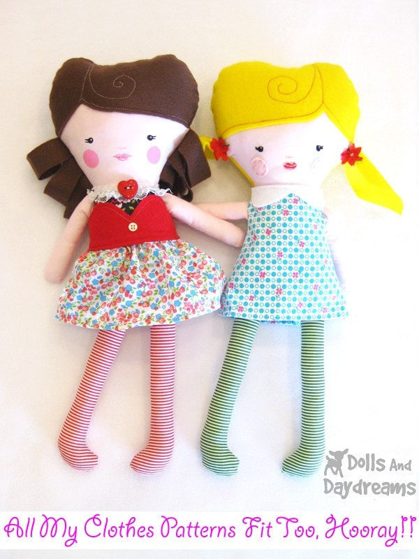 Easy Girl Doll Sewing Pattern - Dolls And Daydreams - 4