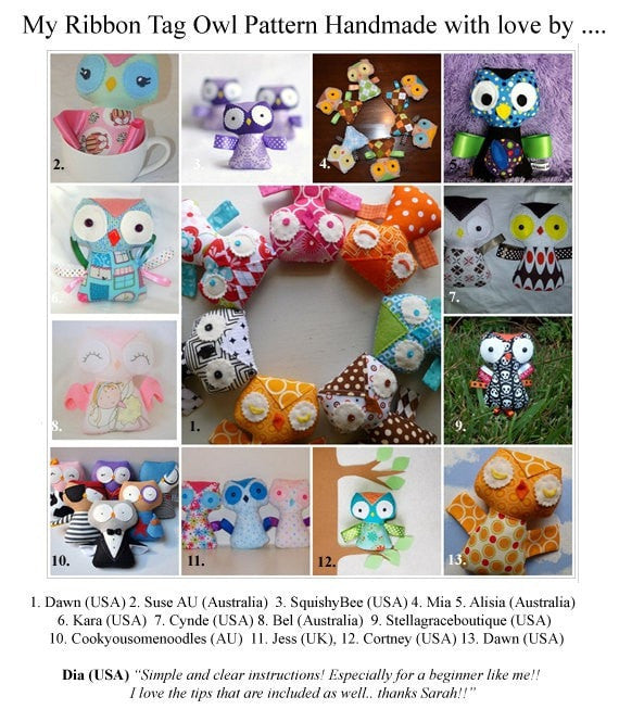 Baby Owl Ribbon Tag Sewing Pattern - Dolls And Daydreams - 6
