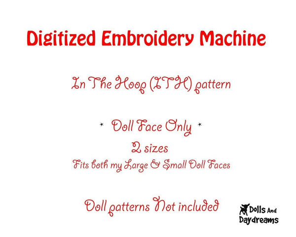 Machine Embroidery 2 Standard Girl Doll Face Patterns - Dolls And Daydreams - 2