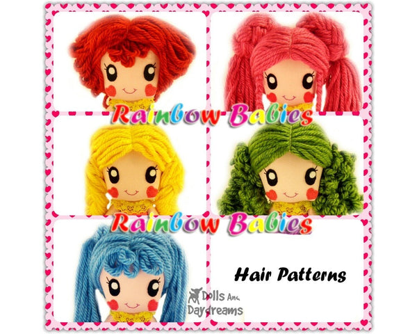 Rainbow Baby 5 Hair Wig Patterns - Dolls And Daydreams - 2