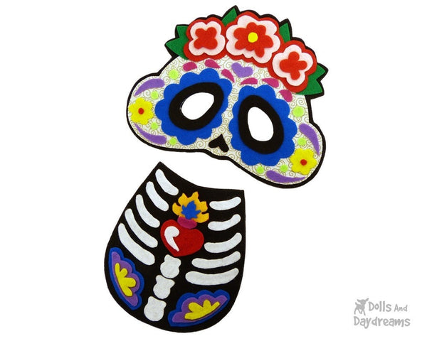 Sugar Skull Mask & Necklace Pattern - Dolls And Daydreams - 3