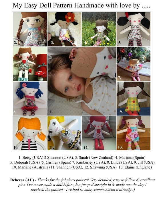 Easy Girl Doll Sewing Pattern - Dolls And Daydreams - 5