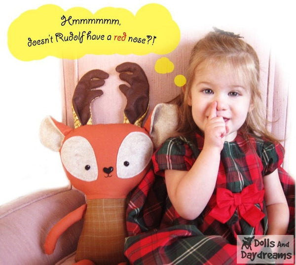 Rudolph Reindeer Sewing Pattern - Dolls And Daydreams - 6