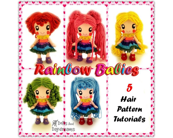 Rainbow Baby 5 Hair Wig Patterns - Dolls And Daydreams - 3