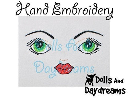 Hand Embroidery or Painting Art Doll Face Pattern - Dolls And Daydreams - 3
