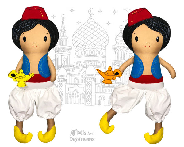 ITH Aladdin boy doll Pattern machine embroidery by dolls and daydreams