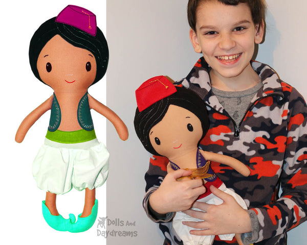 Aladdin boy cloth rag boy doll PDF Sewing Pattern by dolls and daydreams diy make your own