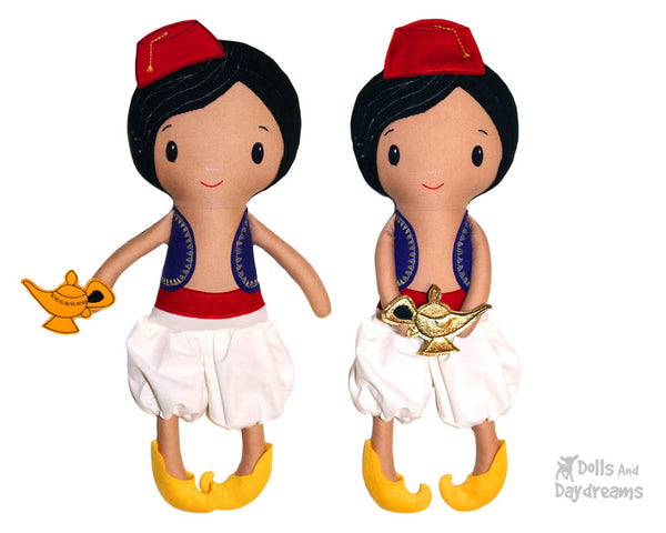 Aladdin boy cloth doll Sewing Pattern by dolls and daydreams diy make your own