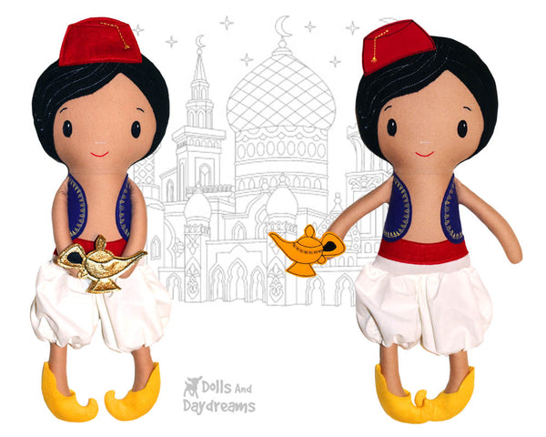 Aladdin boy cloth doll Sewing Pattern by dolls and daydreams diy toy