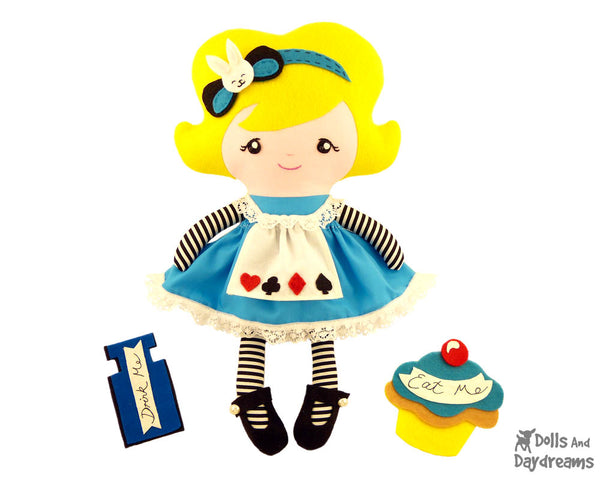 Alice In Wonderland Doll Sewing Pattern - Rag cloth DIY toy Dolls And Daydreams